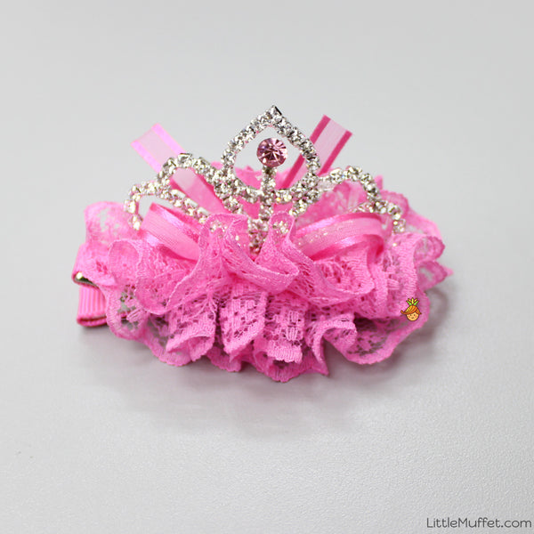 Princess Crown Clip- Hot Pink