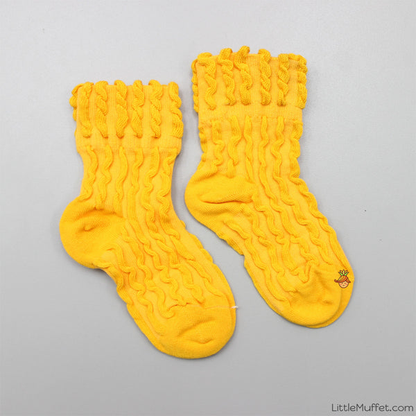 Self Design Socks- Mango Yellow