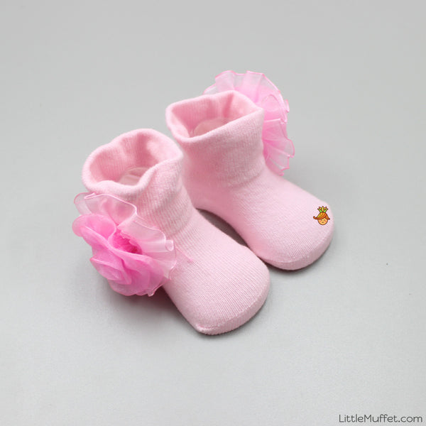 Pink Rose Socks - New Born