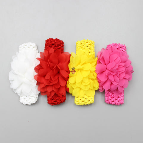Flower And Crochet Headband - Set Of 4