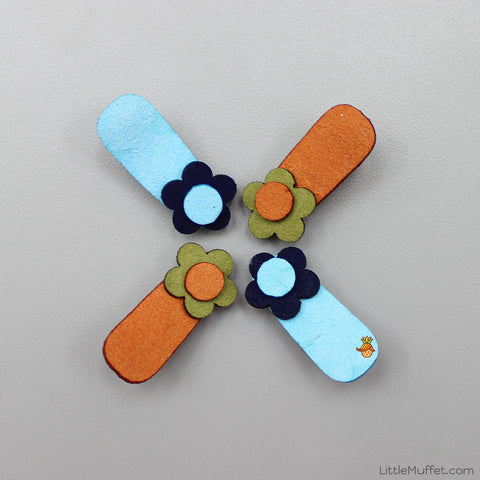 Little Flower Clips Set - Blue And Brown