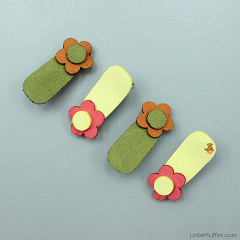 Little Flower Clips Set- Green And Yellow