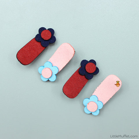 Little Flower Clips Set - Baby Pink And Red