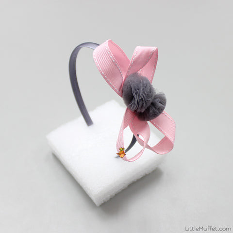 Flowery Bow - Grey And Pink