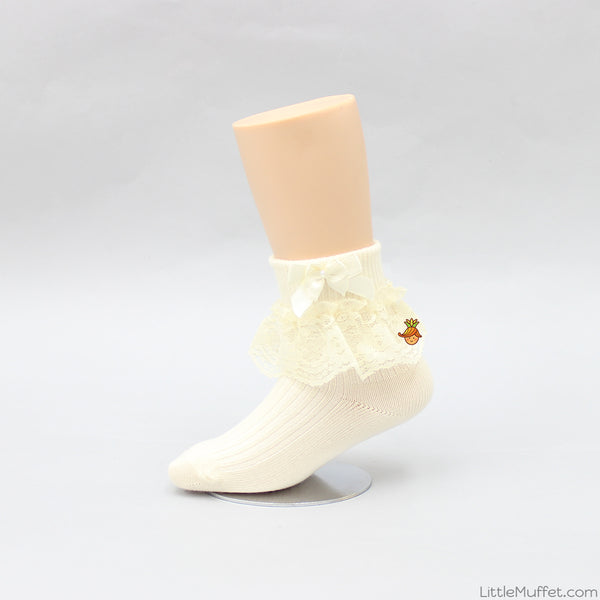 Bowy Frills Socks - Cream