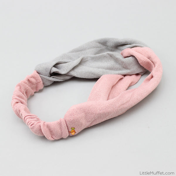 Dual Tone Twisted Headband - Pink & Grey
