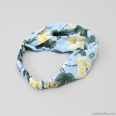 Blue Flowery Twist Headband