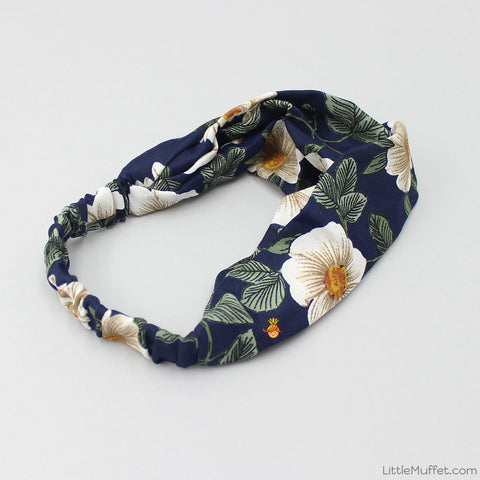 Navy Blue Flowery Twist Headband