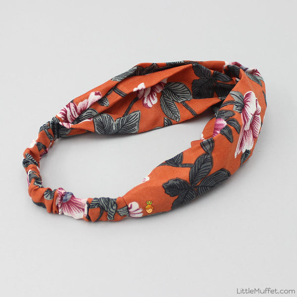 Orange Flowery Twist Headband
