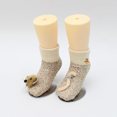 3D Bear Face And Curve Shape Socks