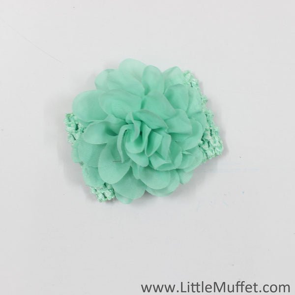 Flower And Crochet Headband- Green