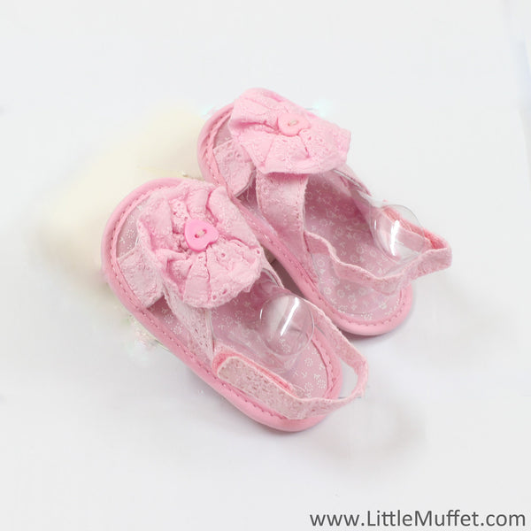 Baby Pink Sandals With Flower