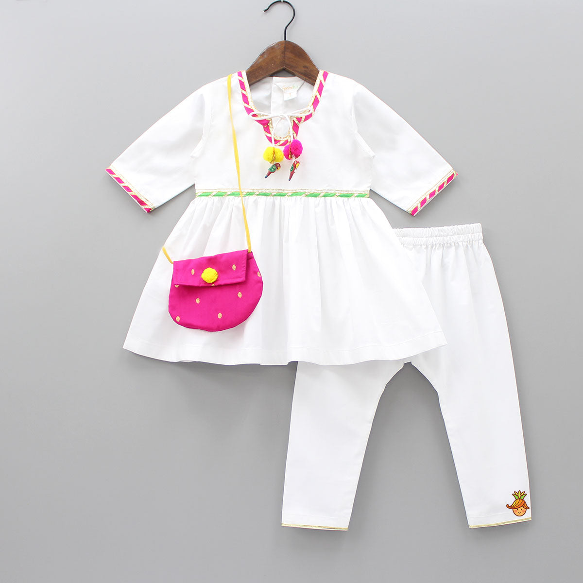 Kurta And Pyjama With Sling Bag