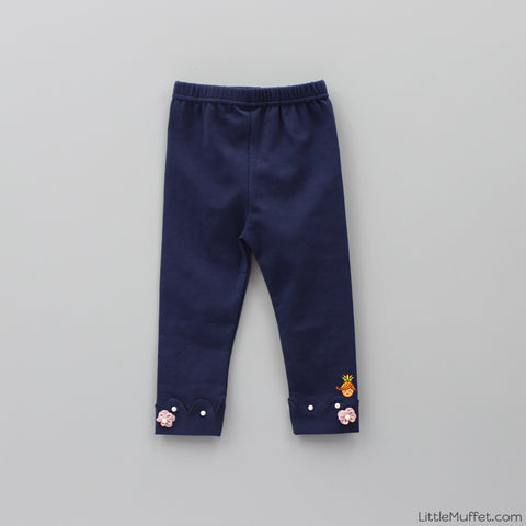 Pearl And Flower 3/4th Leggings- Navy Blue