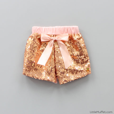 Sequin Shorts - Peach