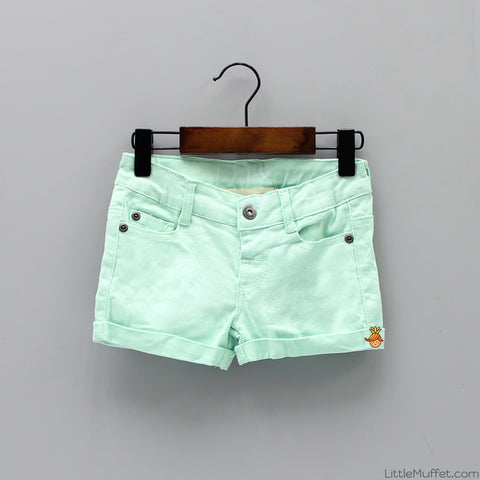 Green Denim Shorts