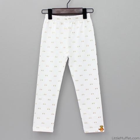 Golden Bow Leggings - White