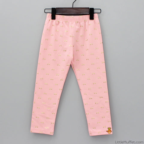 Golden Bow Leggings - Peach