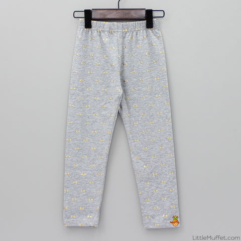 Golden Bow Leggings - Grey