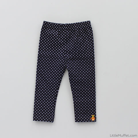 Capri Polka Leggings - Black