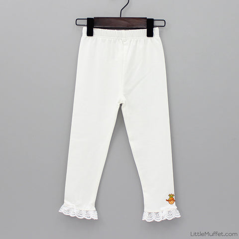 Capri Frilly Leggings - White