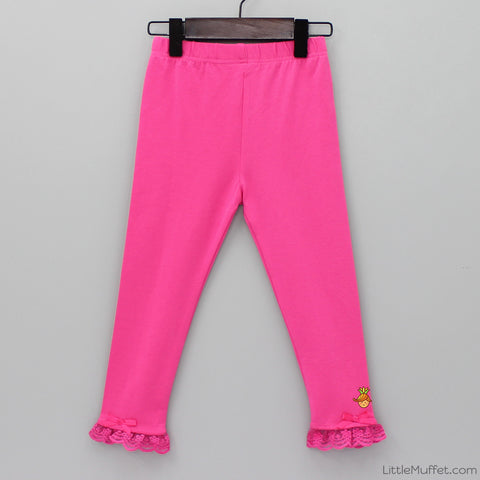 Capri Frilly Leggings - Hot Pink