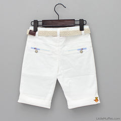 White Shorts With Beige Belt