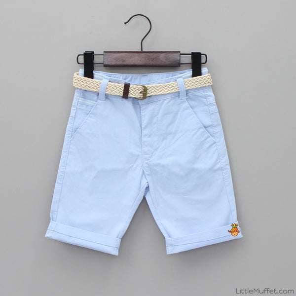 Sky Blue Shorts With Beige Belt