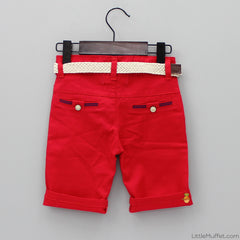 Red Shorts With Beige Belt