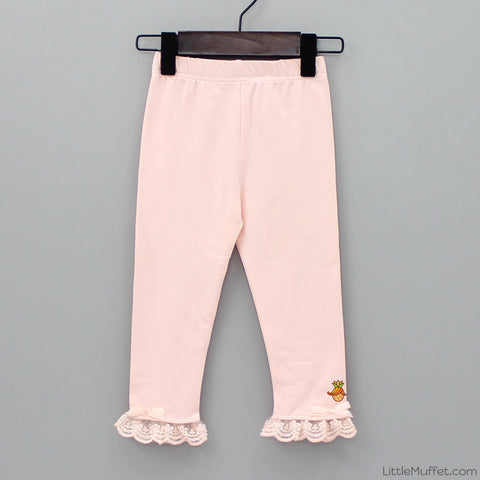 Capri Frilly Leggings - Peach