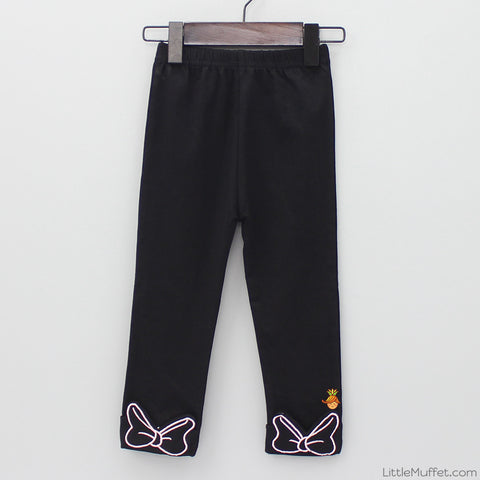 Minnie Bow Capri Leggings - Black