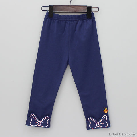 Minnie Bow Capri Leggings - Navy Blue