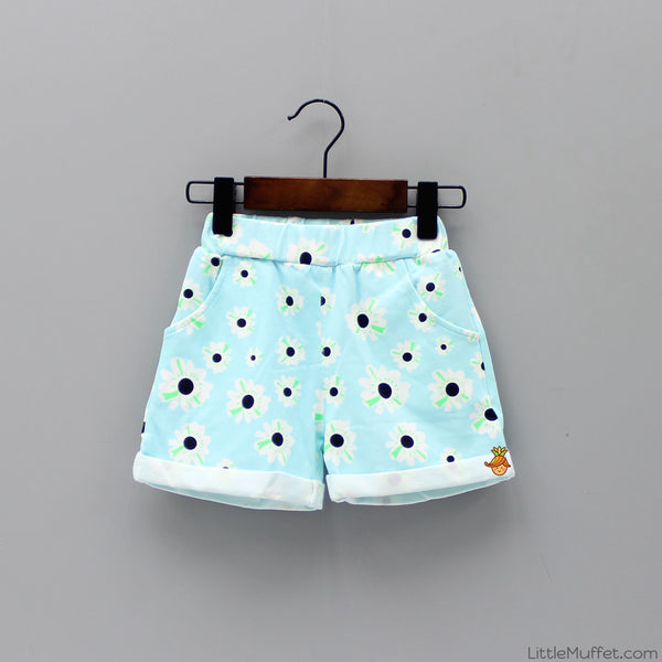 Flowery Sky Blue Shorts