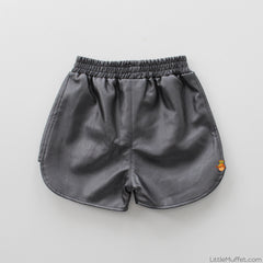 Rosy Black Faux Leather Shorts