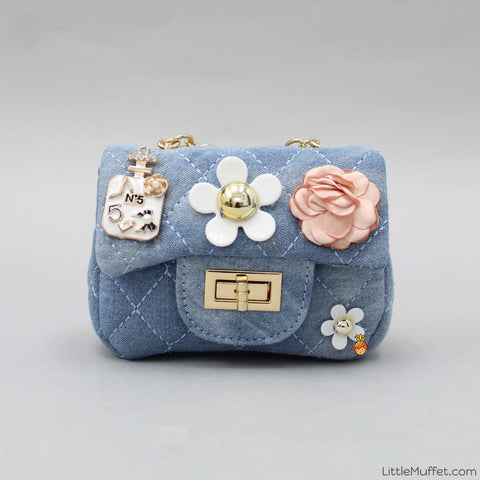 Flowery Twist Blue Sling Bag