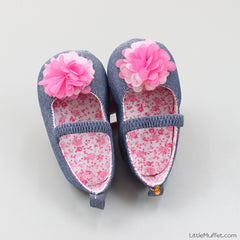 Denim Shoes with Pink Flower