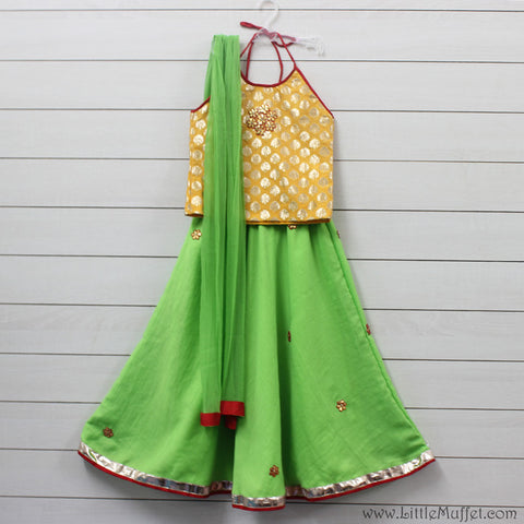 Yellow And Green Lehenga