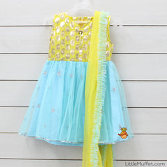 Pre Order: Yellow And Blue Anarkali Suit