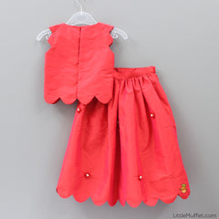 Pre Order: Scallop Skirt-Top Set (Red)