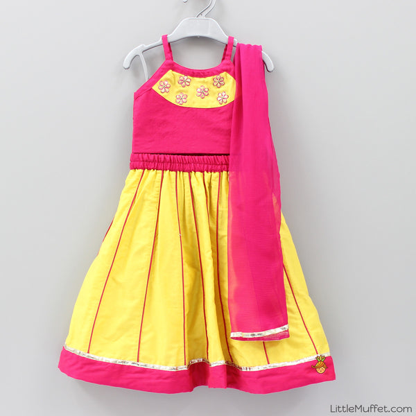 Pre Order: Pink And Yellow Ghagra Choli