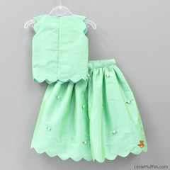 Pre Order: Scallop Skirt Top Set - Mint
