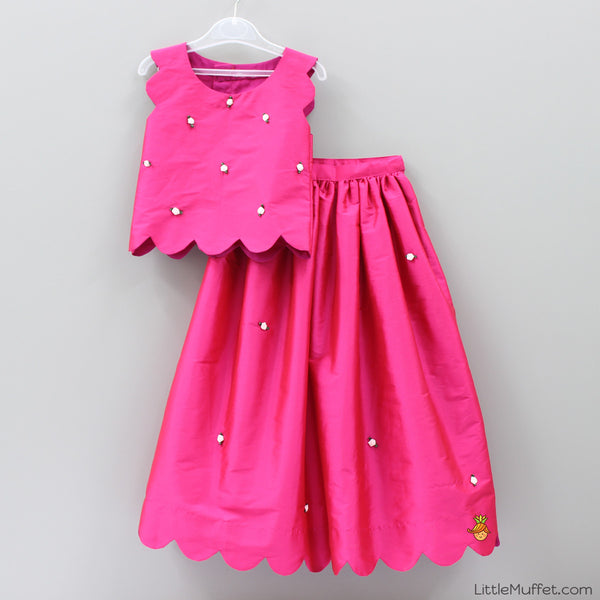Pre Order: Scallop Skirt Top Set - Hot Pink