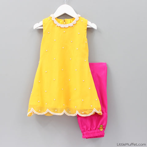 Pre Order: Yellow Hot Pink Anarkali Suit
