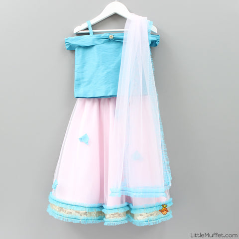 Pre Order: Blue And Pink Ghagra