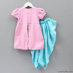 Pre Order: Baby Pink and Blue dhoti set