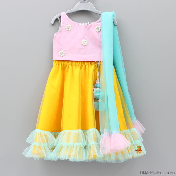 Pre Order: Baby Pink And Yellow Ghagra