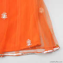 Pre Order: Orange And Blue Dhoti Set