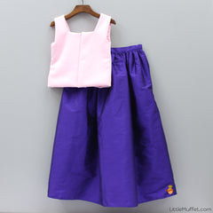 Pre Order: Purple And Pink Skirt-Top Set