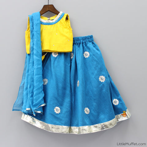 Pre Order: Yellow And Blue Ghagra Choli