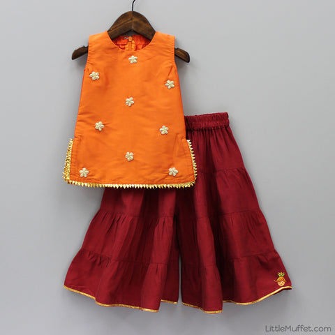 Pre Order: Red Palazzo With Orange Top